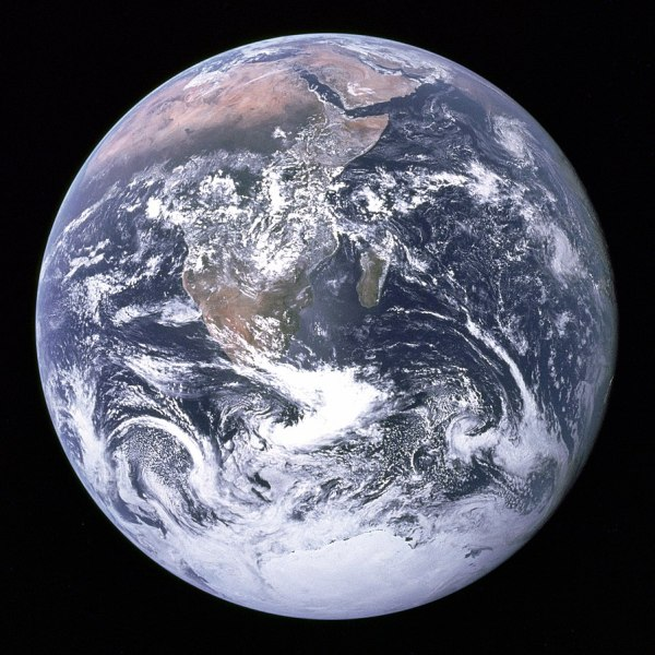 A Photograph of earth, taken from space.