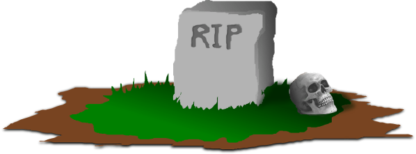 Clipart of a grave. The words RIP are on the tombstone
