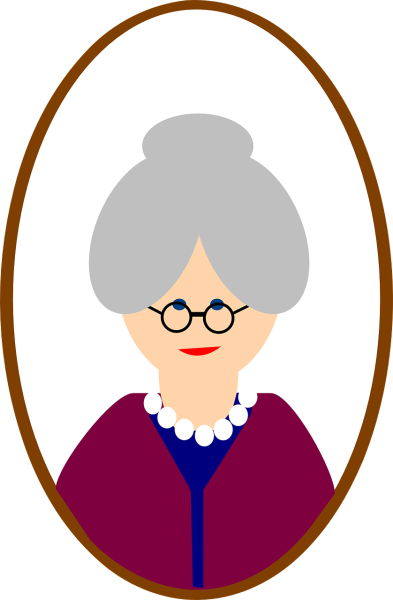 Clipart showing a portrait of an old grannie