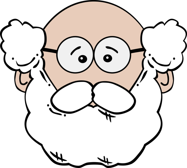 Clipart showing the face of an old grandpa. He is bald but has a bushy white beard