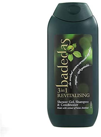 Photograph of a bottle of Badedas-branded shampoo.