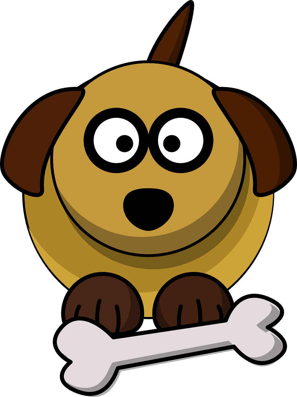 Clipart of a dog with a bone