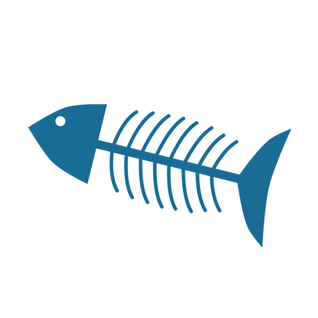 Clipart image of a fish's skeleton.
