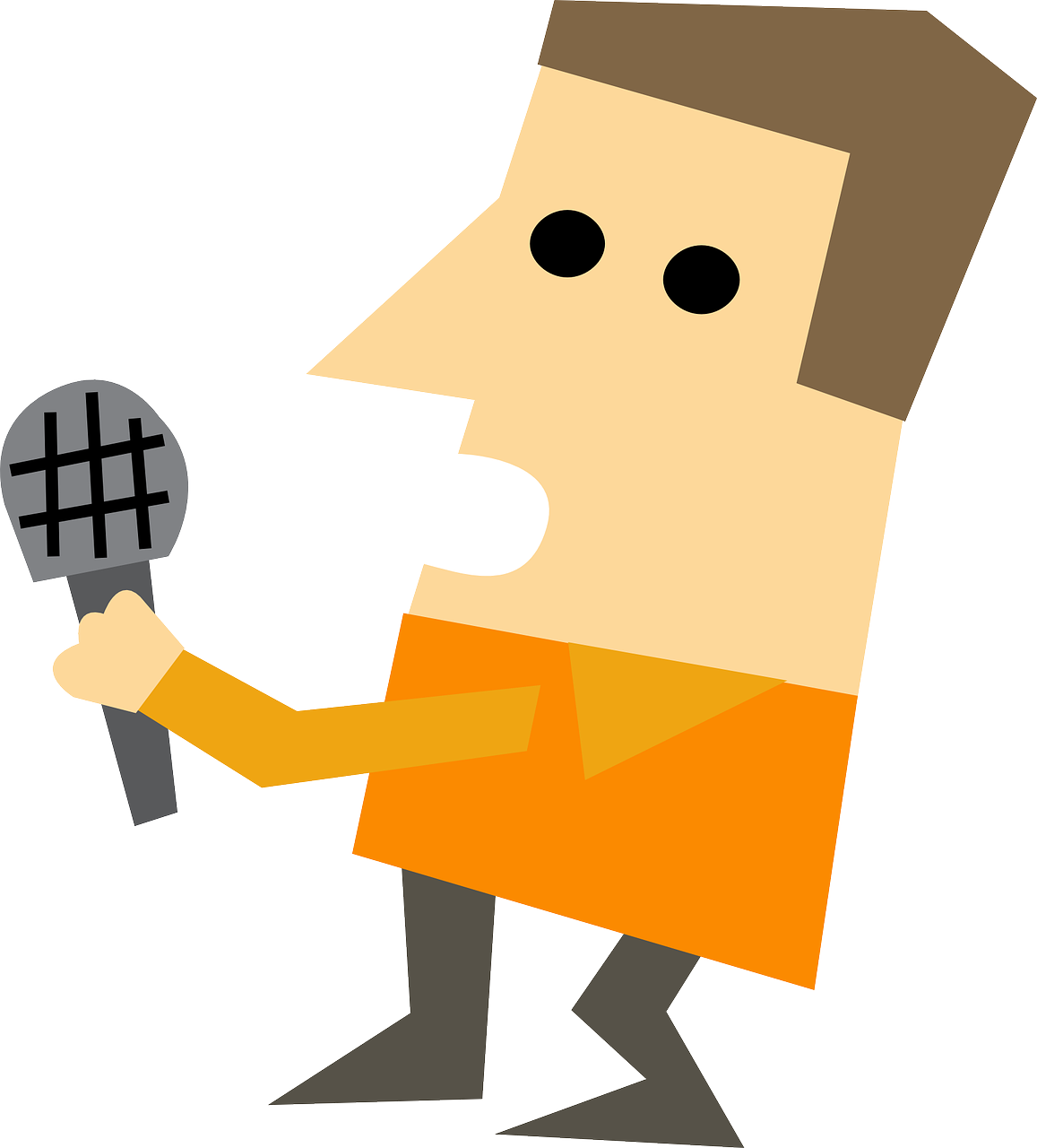 Clipart image of a man holding a microphone, as if he is interviewing someone.