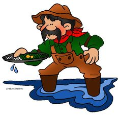 clipart image of a man prospecting for gold.