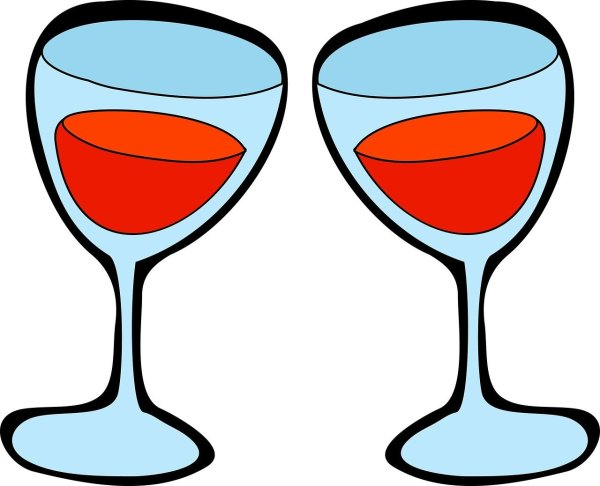 clipart image of a pair of wine glasses