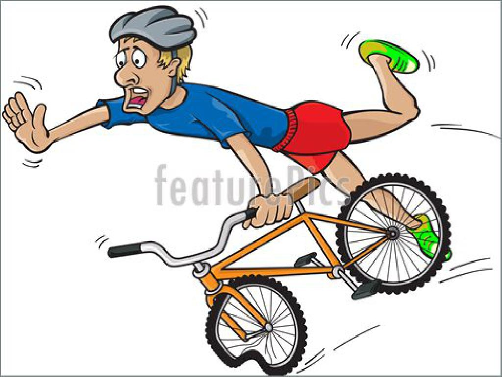 jokey clipart showing man flying off his bike