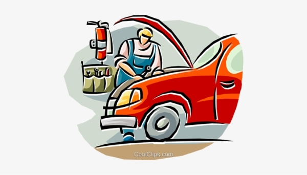 Jokey clipart image of a car, in a garage, with open bonnet, being repaired