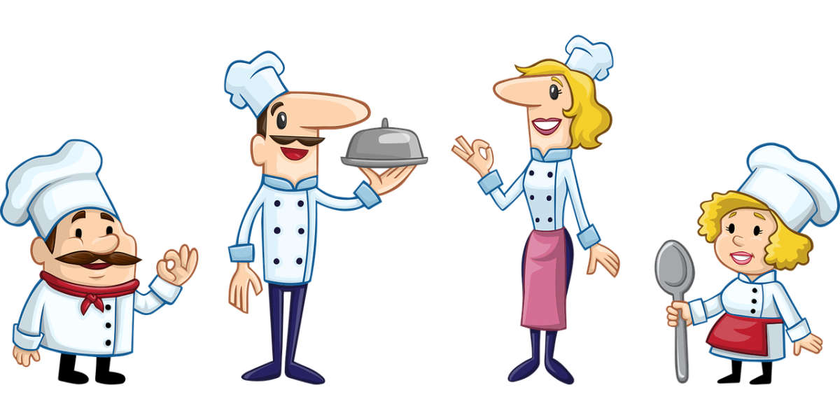 joket clipart of four chefs standing in a line, all of different appearance - short/fat, tall/skinny, male/female.