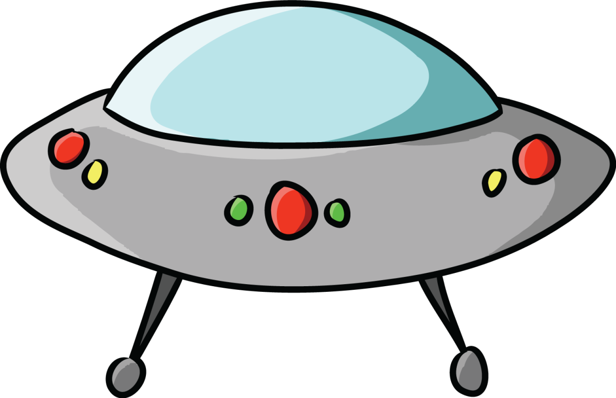 jokey clipart image of a flying saucer