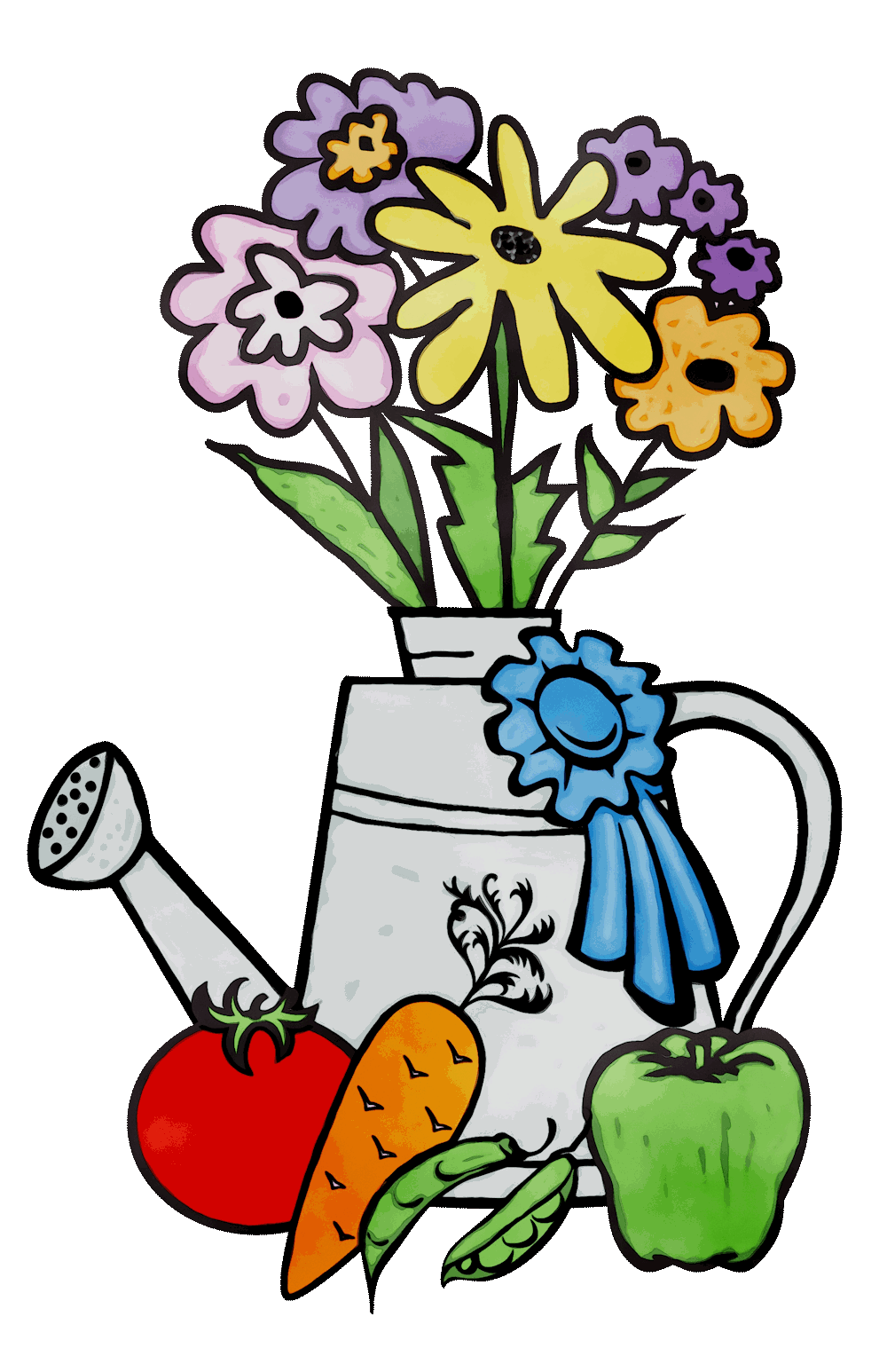 Horticultural clipart. Flowers, watering can, vegetables etc.