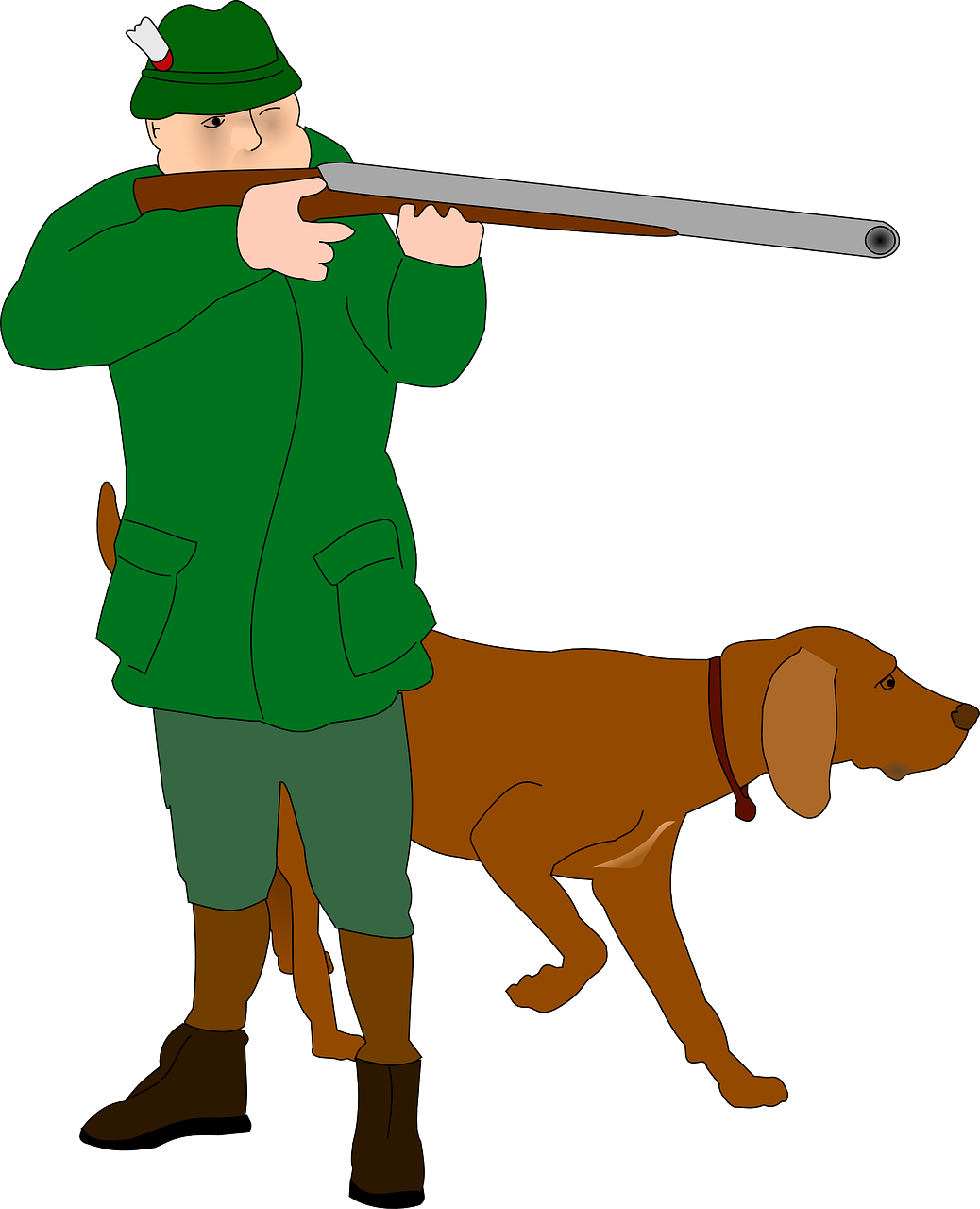 clipart showing a man taking aim with a shotgun, accompanied by a hunting dog