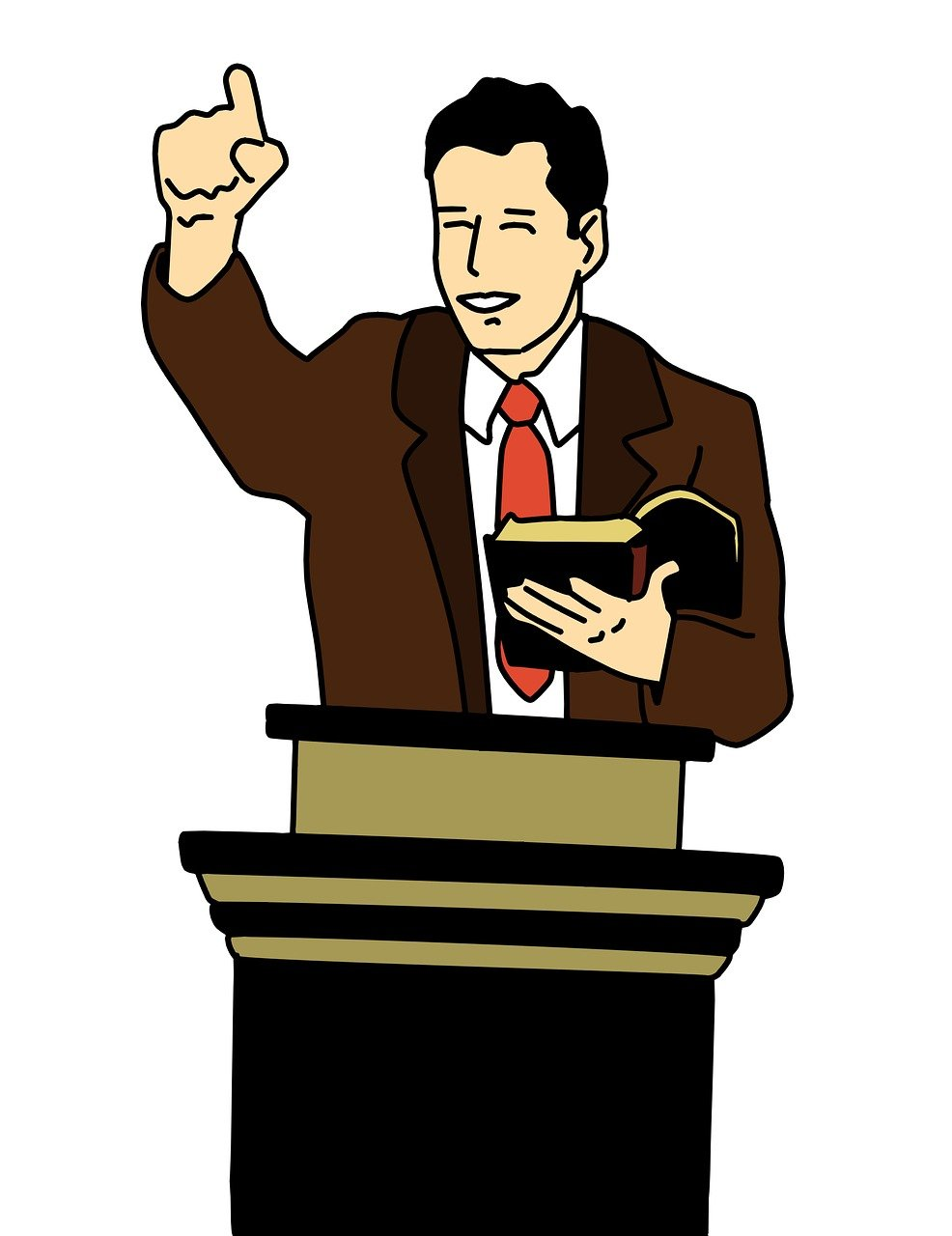 clipart showing a man, in a shirt and tie, preaching at a pulpit
