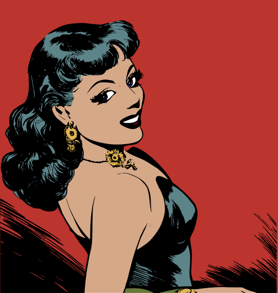 Clipart of a young, attractive, glamourous woman