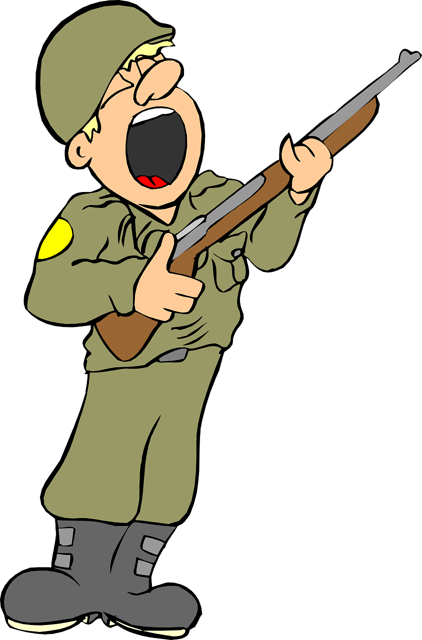 Jokey clipart image of a soldier