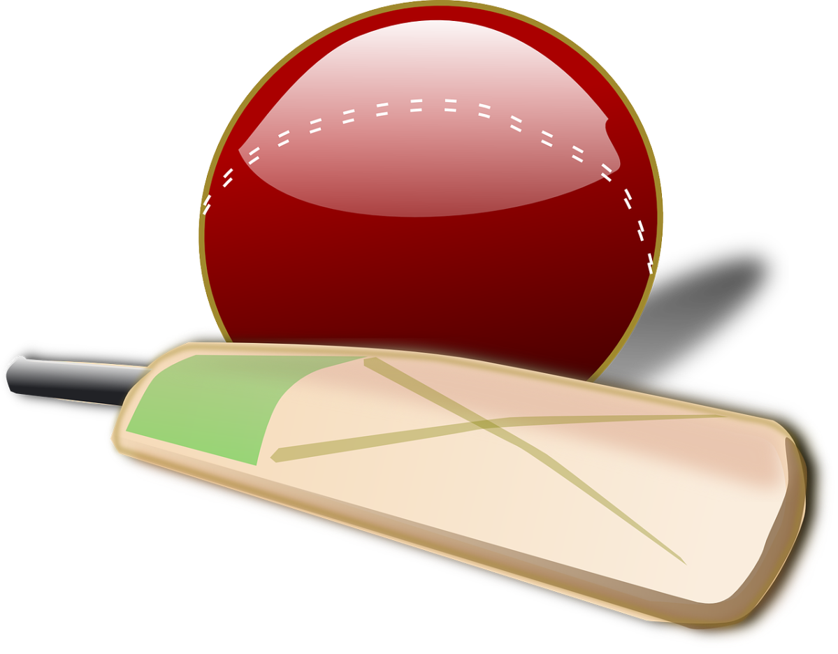 clipart of a cricket bat and ball
