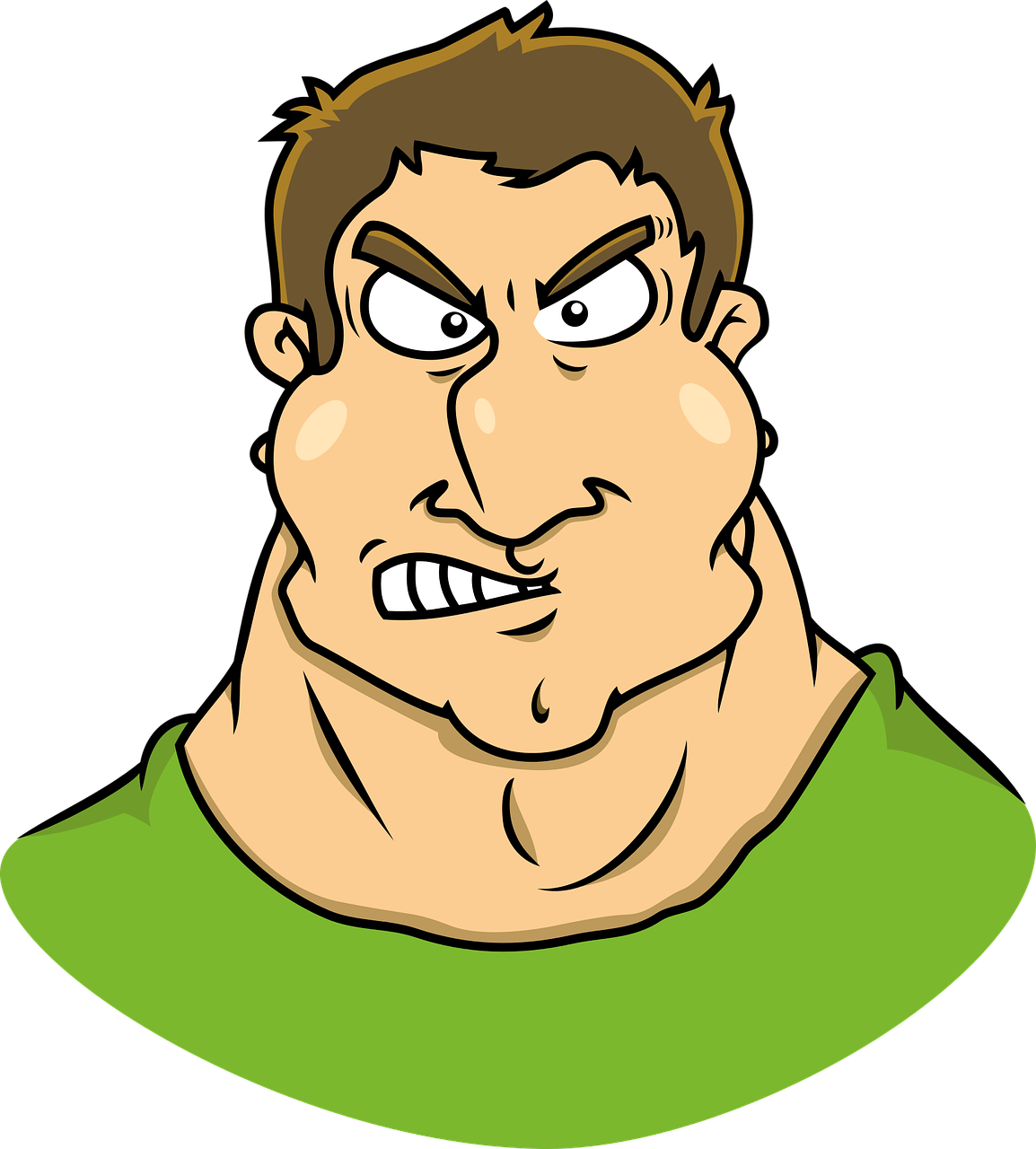 Jokey clipart of an angry man.