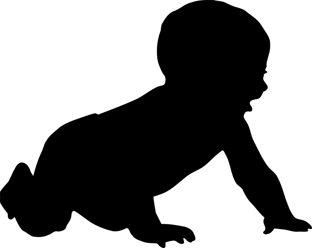 clipart of a baby, crawling