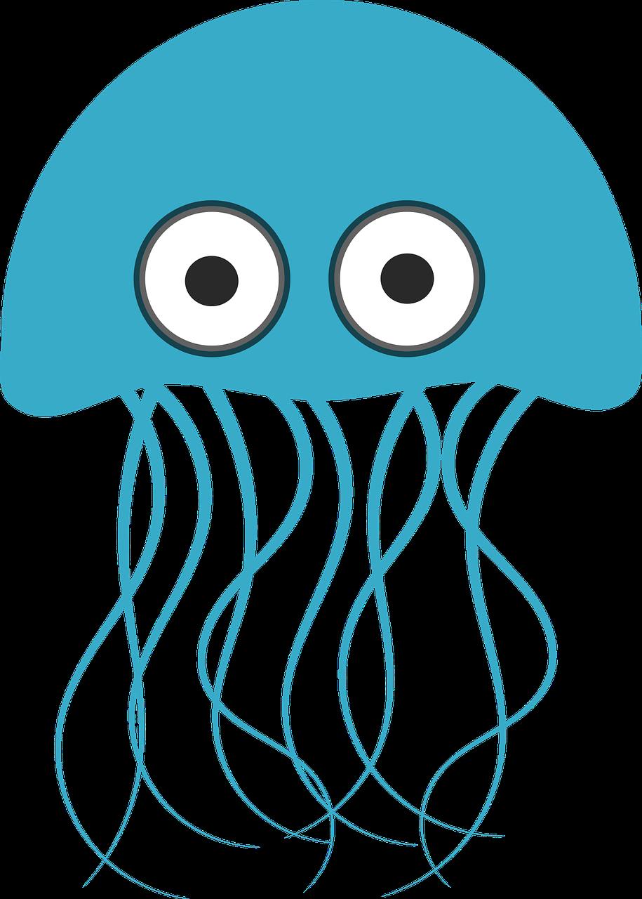 Jokey clipart image of a jellyfish.