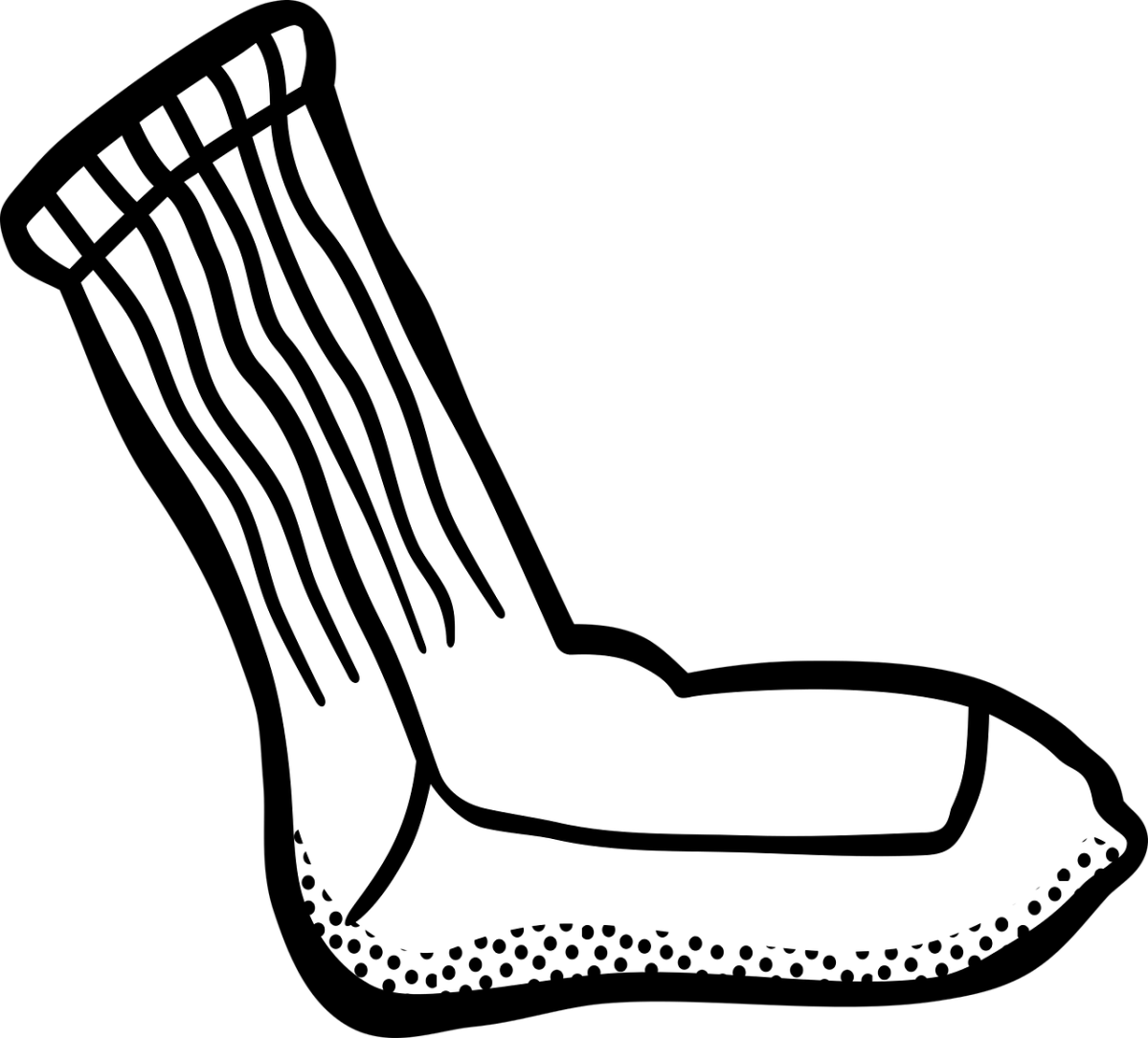 clipart showing a single, white sock.