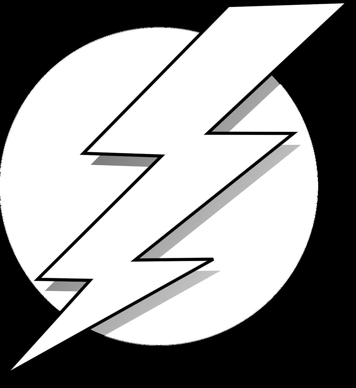Clipart image of a lightning bolt.