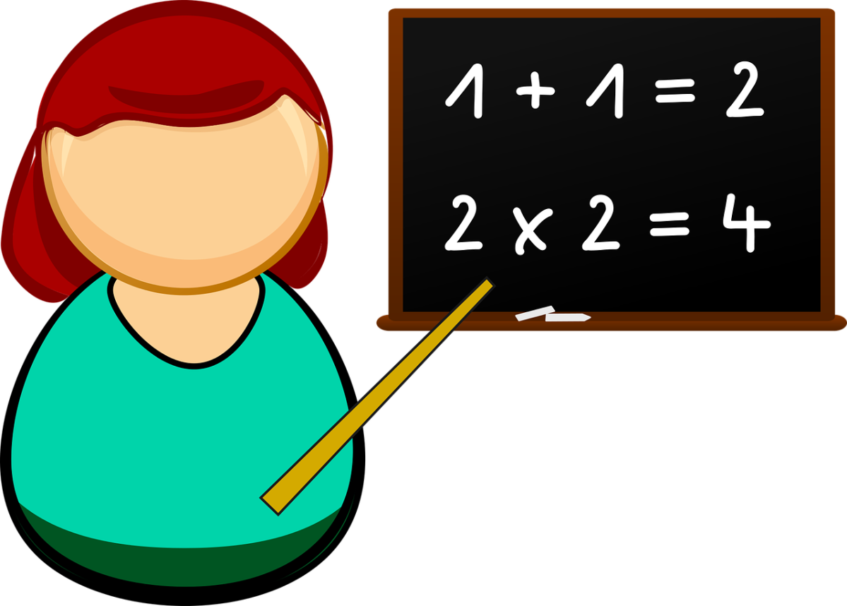 Clipart of a teacher pointing to a blackboard