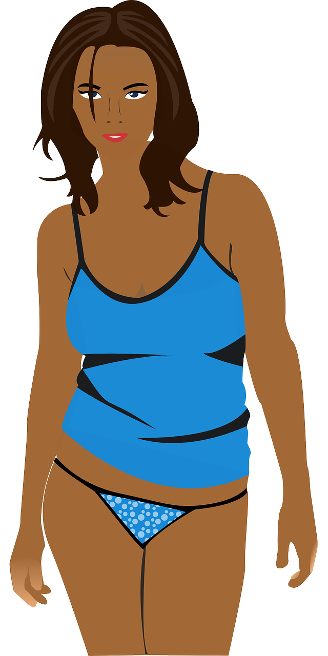 Clipart of a beautiful young woman, dressed only in underwear