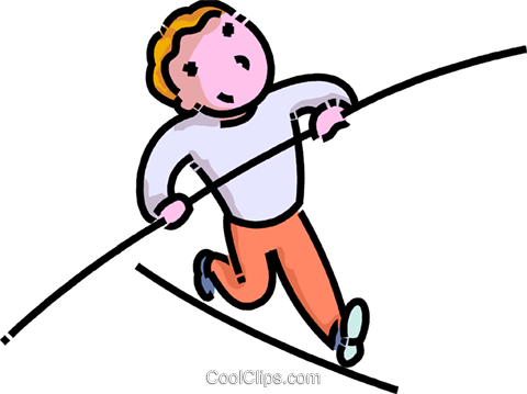 Clipart of a man walking a high-wire