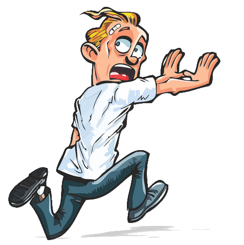 Clipart image of a man running away from something