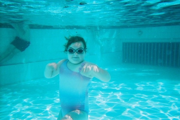 A photo pf my daughter, taken underwater, on vacation at Centerarcs