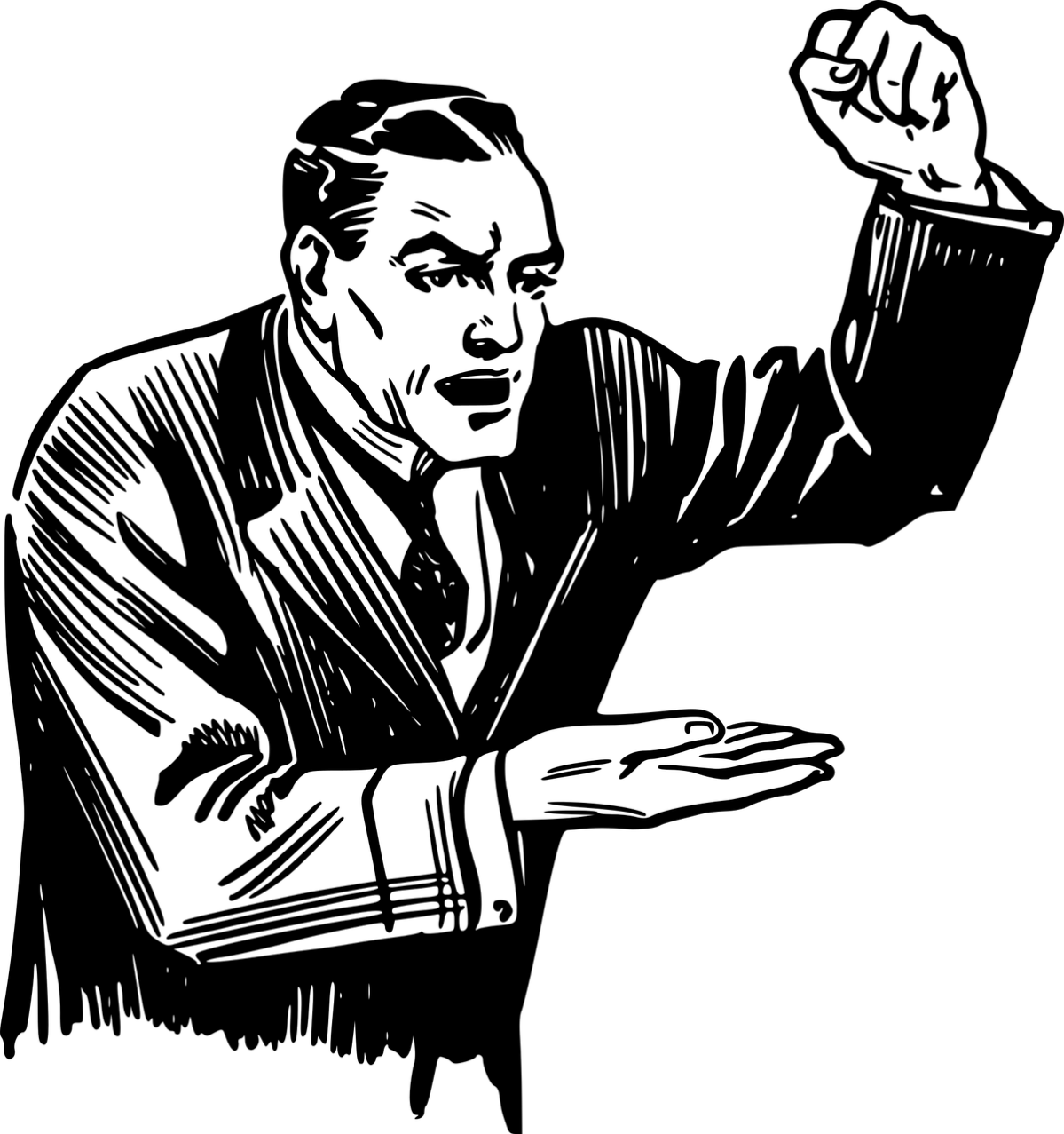 Clipart image of an angry man, public-speaking, shouting, ranting