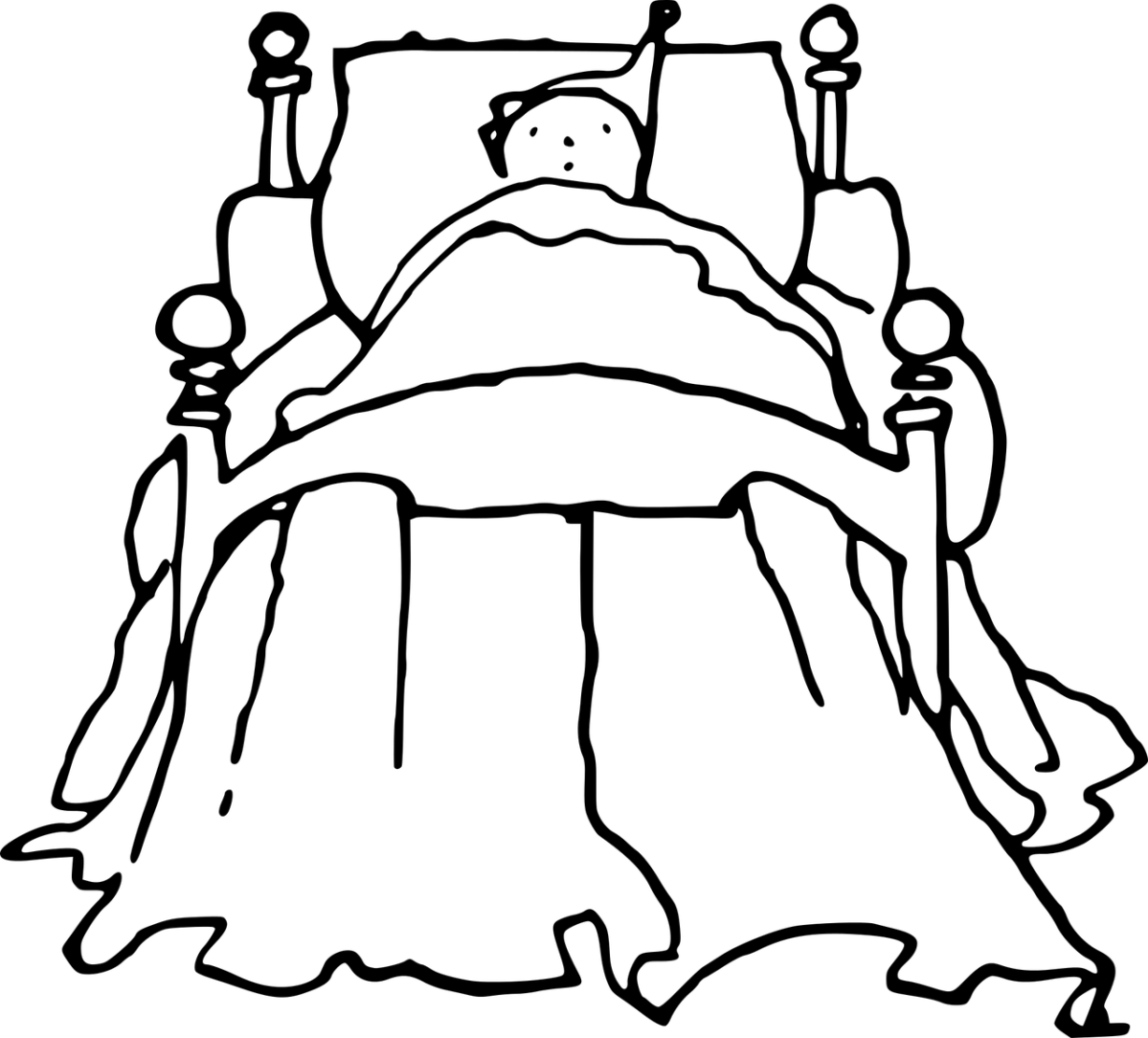 Clipart showing a person, could be man or woman, asleep in bed.