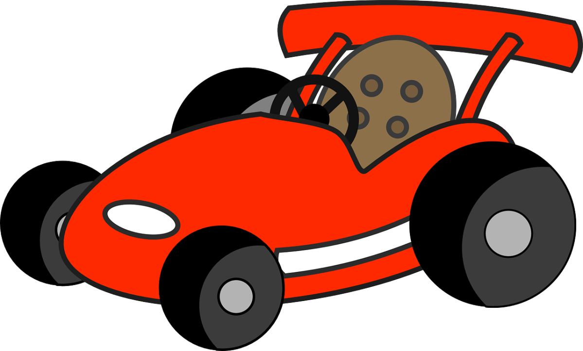 A jokey clipart image of a red racing car.