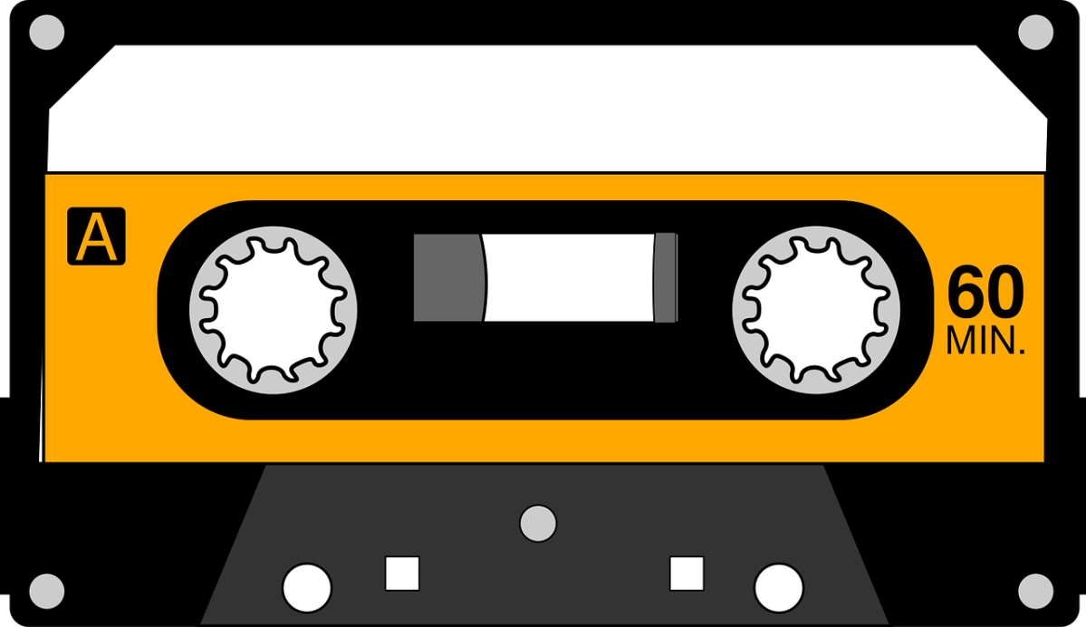 Clipart image of an old-fashioned cassette