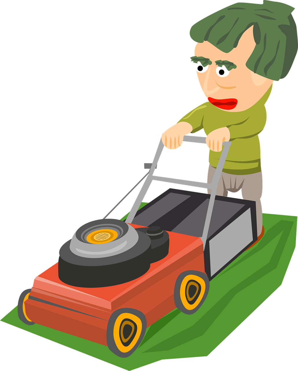 Clipart image of a man mowing a lawn