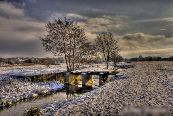 A processedphoto showing a river close to me, in the snow.