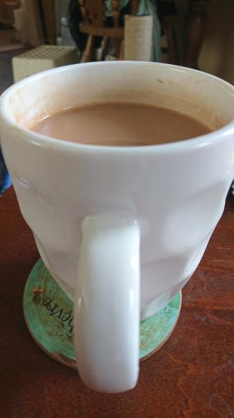 Photograph of a large mug of tea.