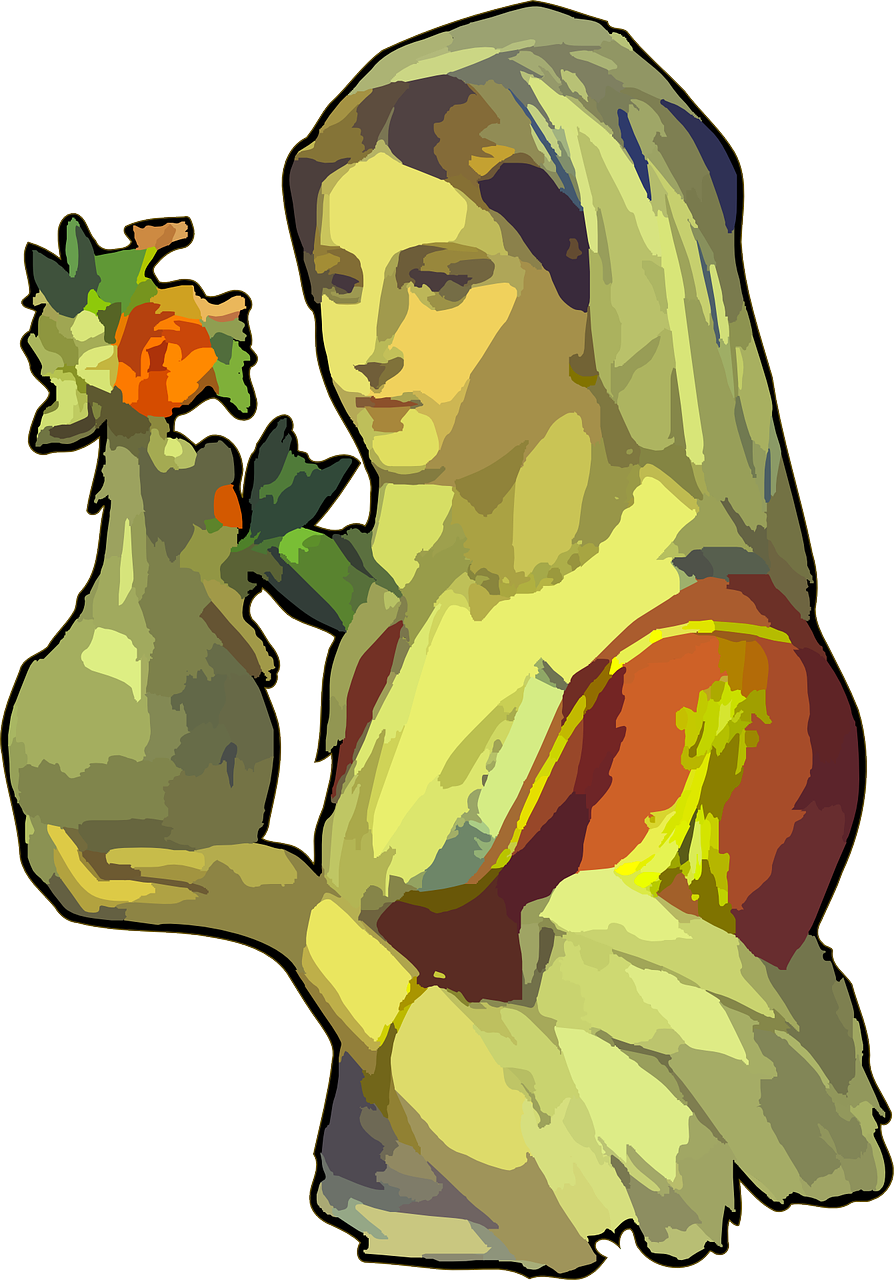 A woman holding a vase, which contains fresh flowers.
