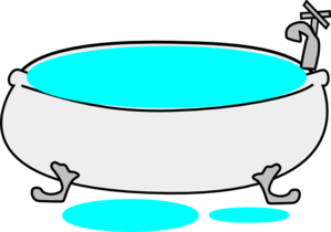 Clipart image of an overflowing bath tub