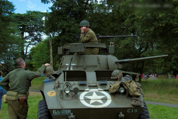 Photo of a US WWII armoured car, taken during a reenactment