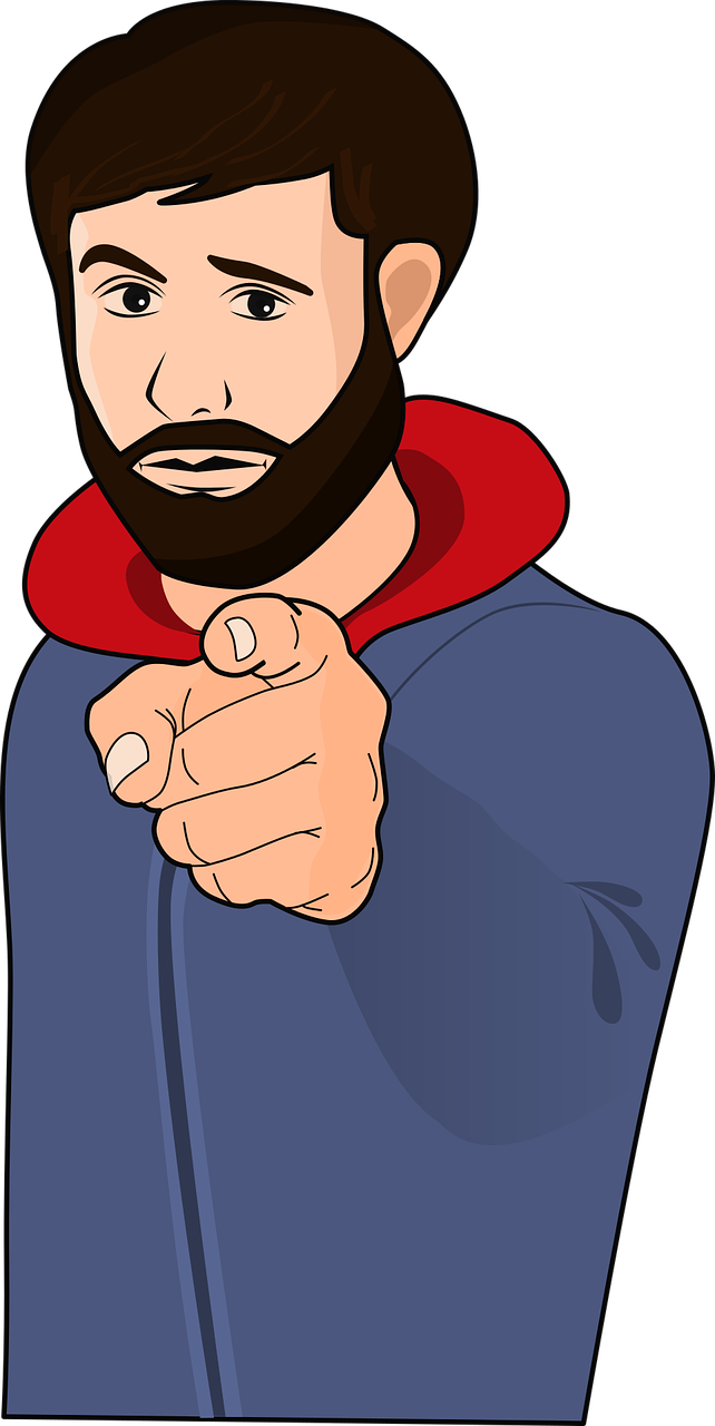 Clipart image of a man wagging his finger.