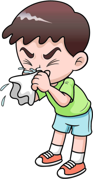 Clipart image of a young man sneezing