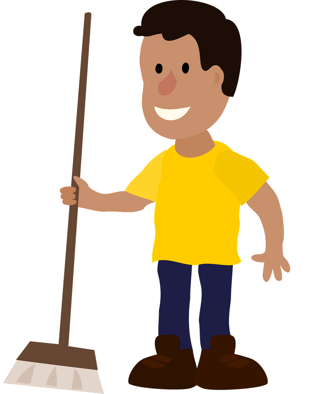 Clipart image of a man holding a broom