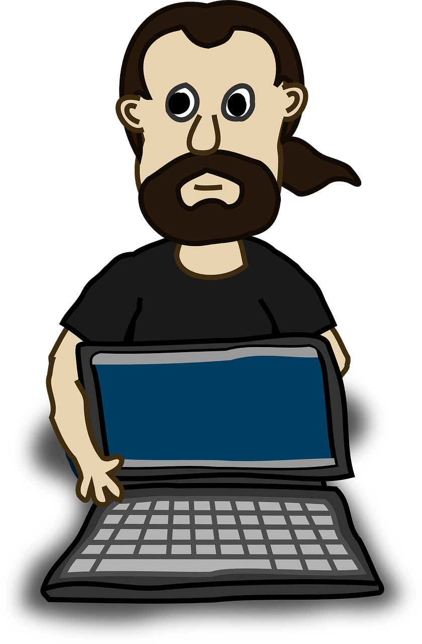 Clipart image of a computer geek.