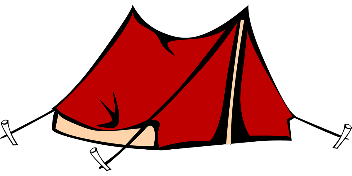 Clipart image of a red tent.