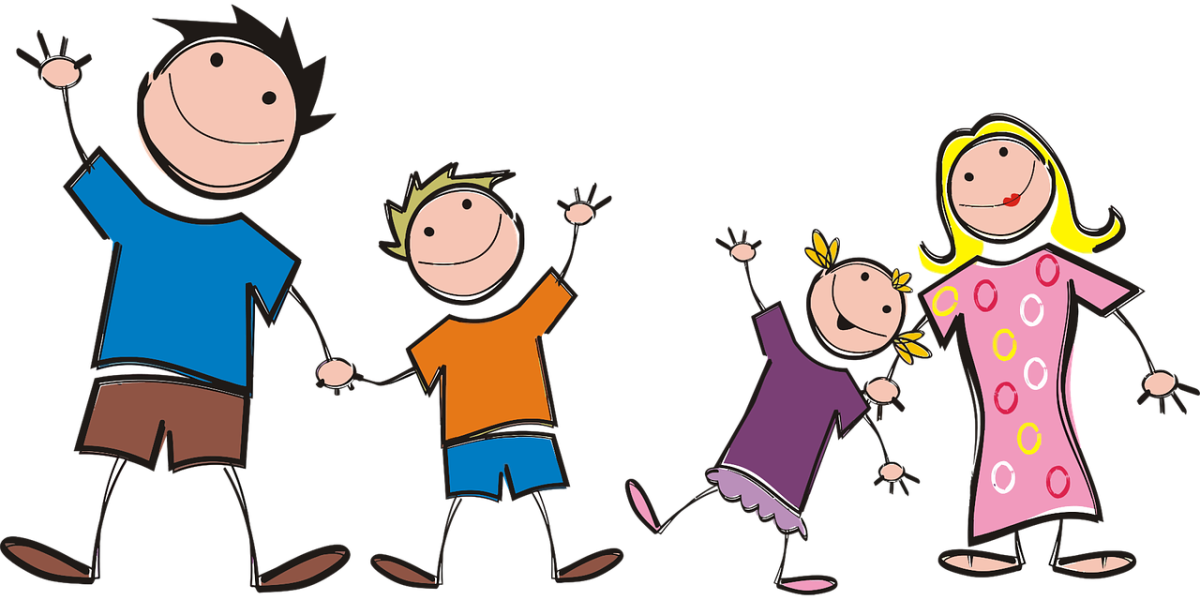 clipart image of a family unit, 2 adults, one boy, one girl