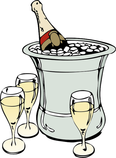 A bottle of champagne in an ice bucket, plus some glasses